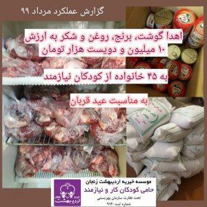 اهدا مواد غذایی به مناسبت عید قربان